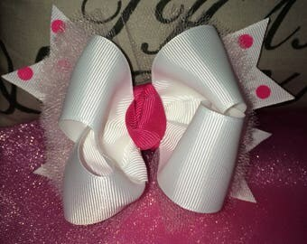 Pink and white hairbow