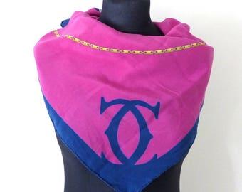 Must de CARTIER authentic 100% Silk Scarf. Pink Cartier Foulard.