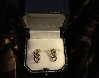 Gold earrings 9ct three colours loops style. Gold post and butterflies .75grms