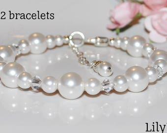 Set of 2 Bridesmaid bracelets, bridal party gift, white crystal pearls, with extender chain