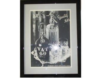 VAT 69 Whisky Framed Vintage Advertisment