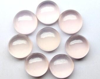 8 Pcs 67Cts,100%Natural Rose Quartz Approx 12mm, Rose Quart Loose Gemstone, Round Shape, Silversmith Designer Jewelry Gemstone Cabochon