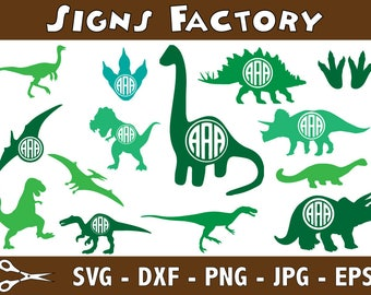 Monogram Dinosaurs Svg, Dinosaur Clipart, Dinosaurs Cut files, dxf, Silhouette cameo and cricut files, printable Dinosaurs Clip Art, T-rex