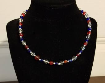 Red, Blue, & Clear White Beaded Necklace, Glass beads, Nickel-free Hardware. NE1