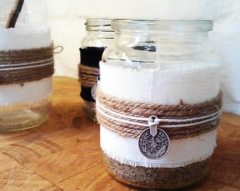 Set of 3 Unique Recycled Jar Tealights or Table Centrepiece