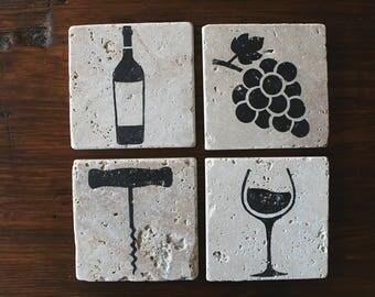 WINE COASTERS, Stone Coaster Set (4), Wine gift Wine Coasters, Housewarming Gift, Wine Lover Gift, Drink Coaster, Birthday Gifts Wine bottle