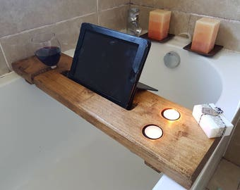 Bath Tidy,handmade & handwaxed,made to take the essentials for your bath time wine,candles,ipad/ phone.