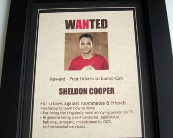 Sheldon Cooper - Big Bang Theory - Wanted Poster