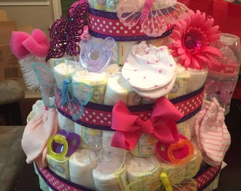 three tier butterfly diaper cake