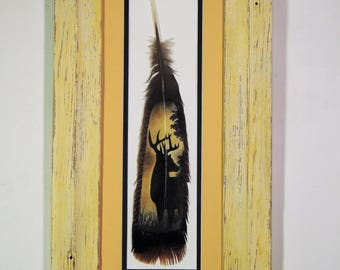 Hand Painted Wild Turkey Feather-Buck Silhouette on a turkey tail feather