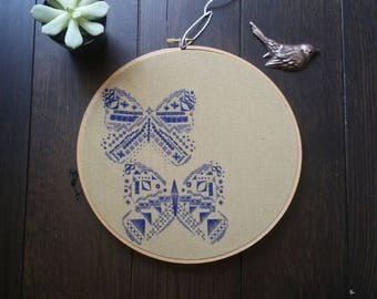 Butterfly Embroidery Hoop | Wall Art | Handmade