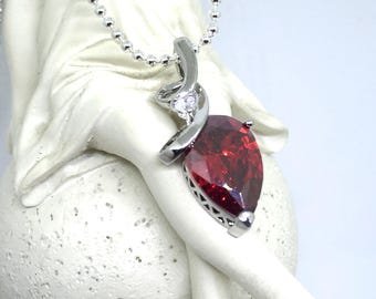 Necklace pendant purple form red crystal drop and white Crystal on silver chain 925, love mother's day