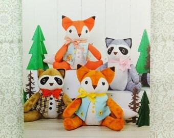 Simplicity 8313 Stuffed Fox and Raccoon Sewing Pattern Elaine Heigl Design NEW Factory Folded Uncut