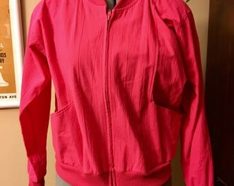 Vintage 80s-90s neon pink bomber jacket