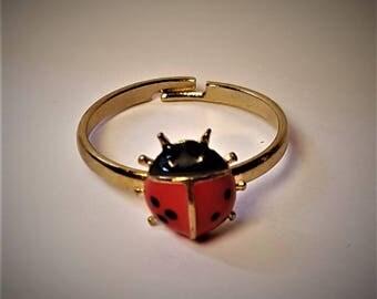 Vintage Enamel Ladybug Ring