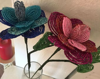 French Beaded Rainbow Rose
