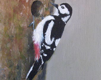 Spotted woodpecker, oil on Panel.