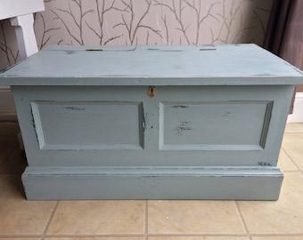 Vintage, distressed pine storage box