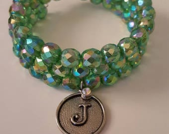 Beaded Memory Wire Bracelet With Charm