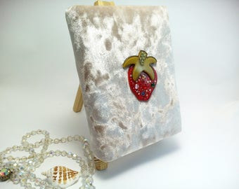 A6 Velvet Notebook with old paper Strawberry Blank Book Personal Diary Gift for Her Pocket Sketchbook Cute Diary