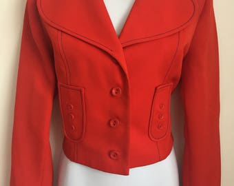 VINTAGE 1960's Red Jacket Size UK10/12