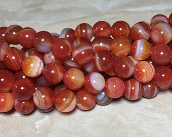8mm Red Striped Agate Gemstone Round 8mm Loose Beads 15.5 inch Full Strand, Red Agate, Natural Red Striped Agate
