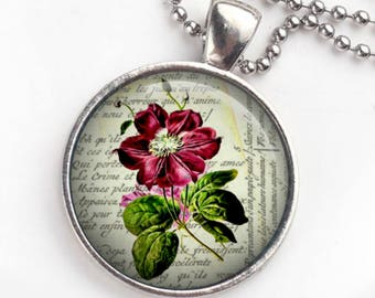Red Flower Glass Pendant Necklace or Key Ring