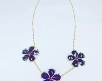 Rafaella purple flowers , gold beads and chain cute handmade necklace