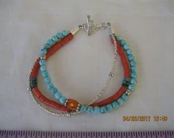 Turquoise and Coral Ethnic/Boho Multistrand Bracelet