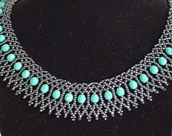 Turquoise and hematite beaded necklace