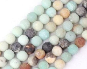 Amazonite Natural Stone Beads With Frosted Finish - 60 pieces - 6mm - Jewelry Supply