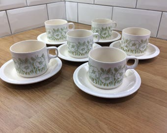 6 Vintage Cups and Saucers Hornsea Pottery Fleur (1 included free)