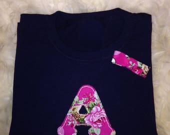 Children's Initial Letter Long Sleeved T-shirt