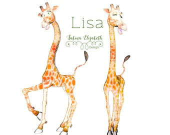 Giraffe Lisa 2 & 3, beige, Watercolor Clipart, Baby, Child, Fun, Craft