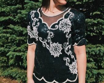 SASSY Sequin Fancy Blouse // Medium