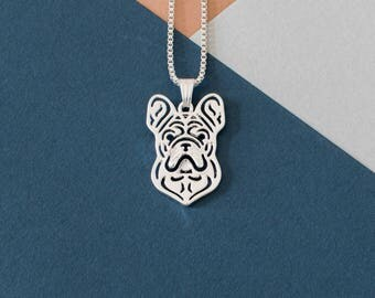 French Bulldog Stencil Necklace - Silver Plated