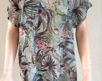 Exotic foliage 36/38/40/42 printed voile tunic