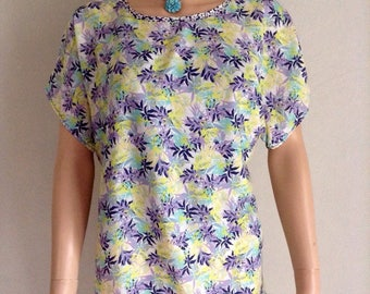 Flowing printed blouse foliage 38/40/42/44/46
