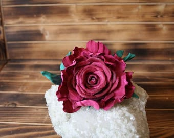 Leather Red Rose