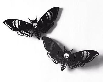 Deaths Head Moth Hair Clips
