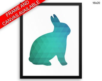 Geometric Canvas Art Rabbit Printed Geometric  Framed Art Rabbit rabbit wall art mint animal rabbit silhouette rabbit triangle