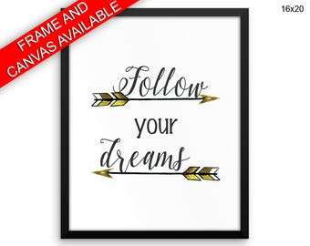 Follow Your Dreams Canvas Art Follow Your Dreams Printed Follow Your Dreams  Framed Art Follow Your Dreams Nursery Decor Baby Room