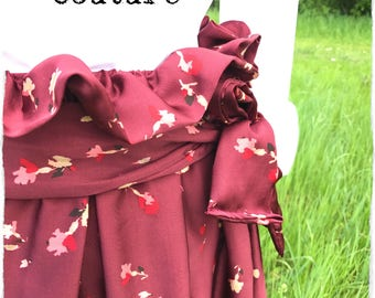 Long skirt, skirt Viscose, skirt, skirt, skirt Handmade flowers Burgundy sash, skirt, skirt with elastic