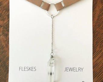 "Boho Jewelry Healing Stone Quartz Handmade ""Jessica"" Choker"