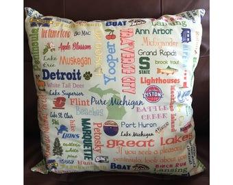 Light Blue Michigan Highlights Throw Pillow