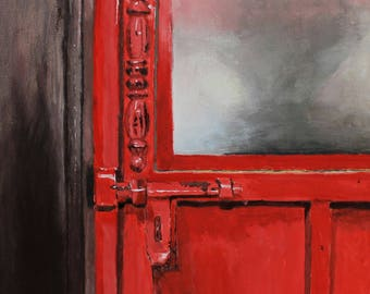 Red Pub Door, Acrylic on Canvas, 9x12 ( Original Artwork )