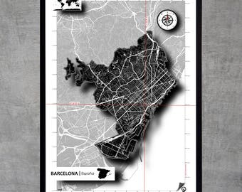 Barcelone Map Poster Poster Art print Map Impression Design Cartography