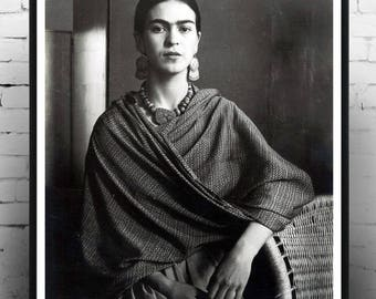 Frida Kahlo, Wall Art, Home Decor, Photography, Gift for Her, Vintage Print, Poster
