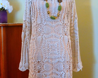 Exquisite Lace Handmade Crochet Linen Dress for a Beautiful Luxury Brave Lady