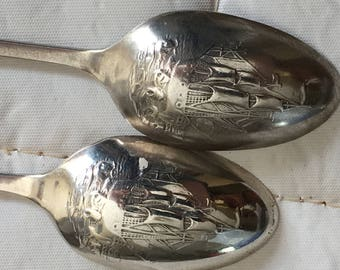 Pair of English Sterling Silver Picture Back Spoons